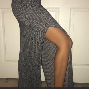 Dresses & Skirts - High waisted gray ribbed skirt